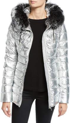 Yves Salomon Army Metallic Puffer Jacket w/ Fur Trim