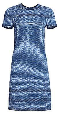 St. John Women's Short Sleeve Tweed Shift Dress
