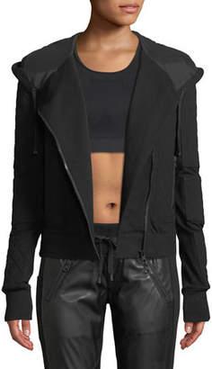 Blanc Noir French Terry Mesh Zip-Front Moto Jacket