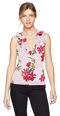 GUESS Women's Sleeveless Franco Ruffle Top