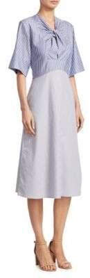 Carven Twist-Front Pinstripe Midi Dress