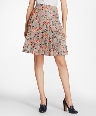 Brooks Brothers Floral-Embroidered Mini-Houndstooth Cotton Pleated Skirt