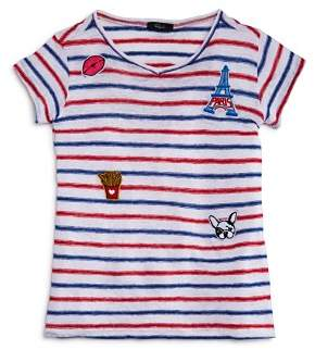 Rails Girls' Frenchie Striped Patch Tee - Little Kid