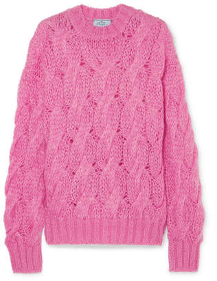 Prada - Cable-knit Mohair-blend Sweater - Pink