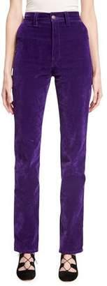 Marc Jacobs Velvet High-Rise Disco Jeans, Purple