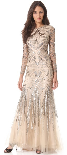 Monique Lhuillier Embroidered Mesh Gown