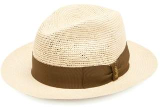 Borsalino Woven And Crochet Straw Panama Hat - Mens - Khaki Multi
