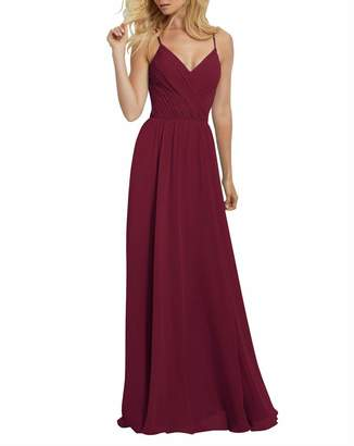 dc655f2814e Staypretty Long Bridesmaid Dresses V Neck Keyhole Ruffled Chiffon Prom Gowns  for Women