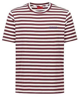 5536fc57 HUGO BOSS Striped T-shirt in single-jersey cotton with reverse logo