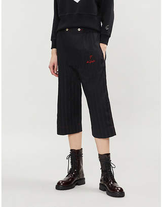 Vivienne Westwood Be specific-embroidered wide-leg cotton-twill trousers