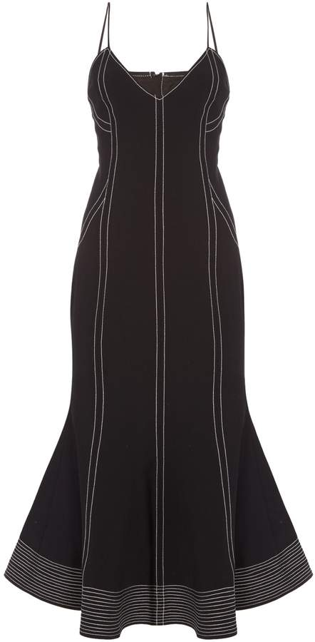 C/Meo CMEO Fitted midi dress with piping and flare hem