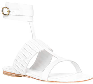 Max Studio vellum : waxed leather ankle wrap flat sandals