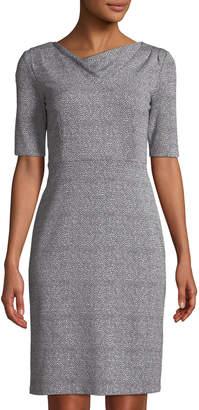 Donna Karan Cowl-Neck Two-Tone Sheath Dress