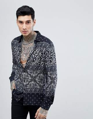 Asos DESIGN regular fit paisley bandana print shirt