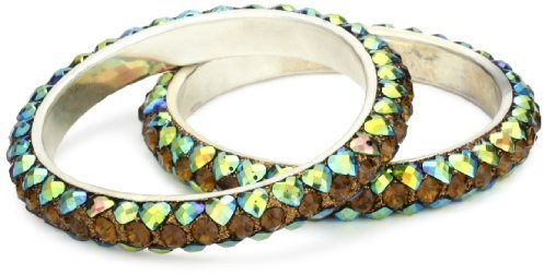 Chamak by Priya Kakkar 2 Smoky-Topaz-Color and Rainbow Heart Crystal Bangle Bracelet