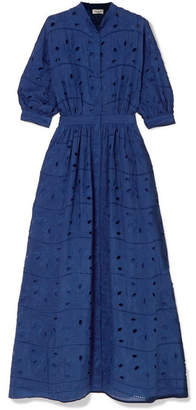 Paul & Joe Broderie Anglaise Cotton And Silk-blend Maxi Dress - Navy