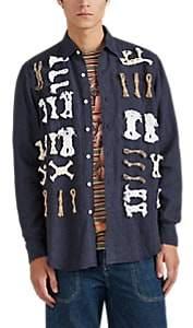 Loewe Men's Rope-Detail Linen Plain-Weave Shirt - Navy
