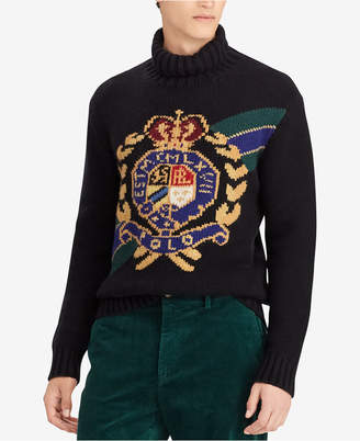 Polo Ralph Lauren Men's Intarsia Crest Wool Turtleneck Sweater