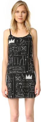alice + olivia AO X Basquiat Beat Bop Slip Dress $350 thestylecure.com