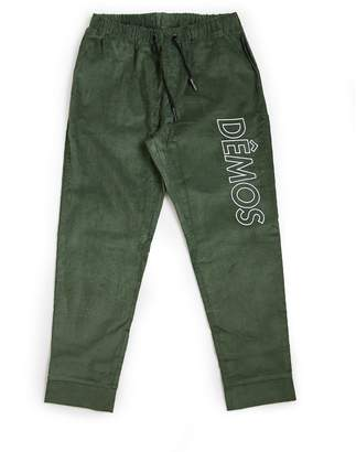 DÃMOS - Demos Green Big Logo Embroidered Corduroy Trousers