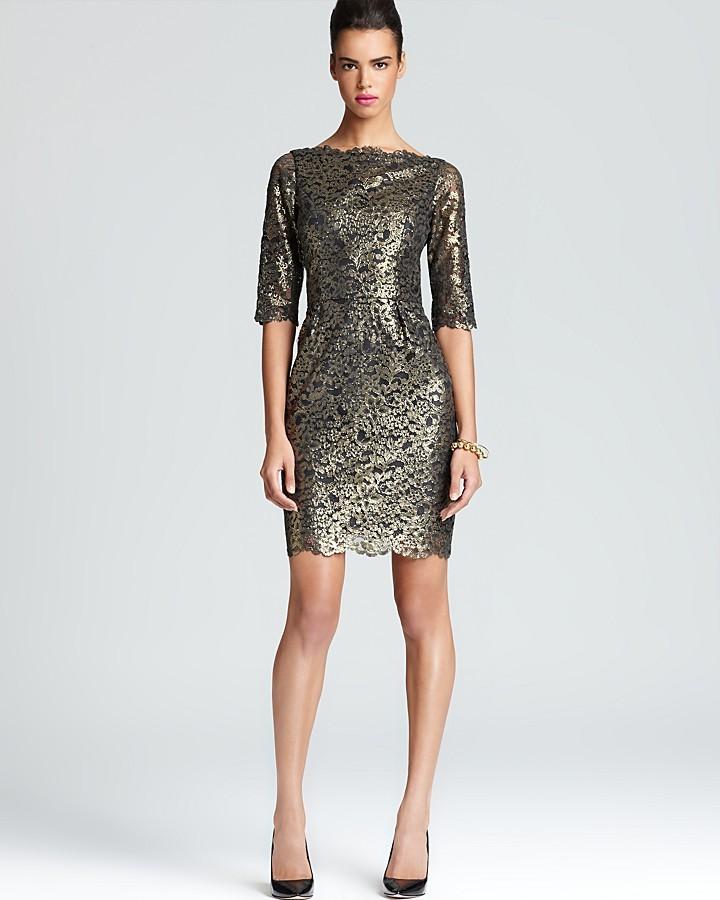 Shoshanna Lace Dress - Metallic Minka