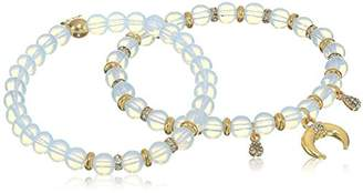 Ettika Double Take Elastic in Opal and Gold Stretch Bracelet