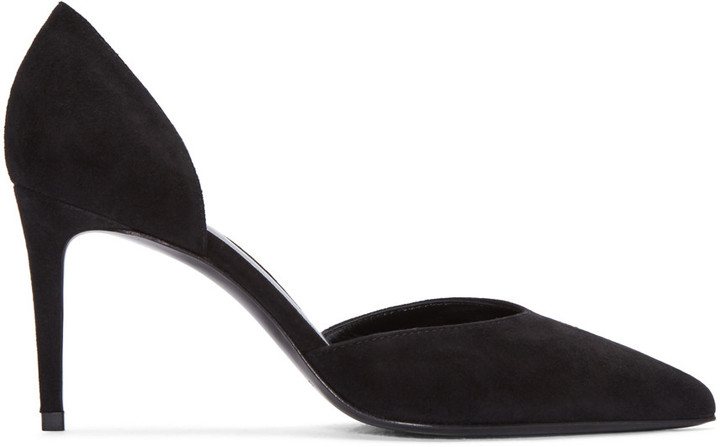 Saint Laurent Black Suede Paris Skinny D'Orsay Heels