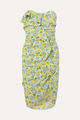 Veronica Beard Ruffled Floral-print Silk-blend Georgette Midi Dress - Yellow