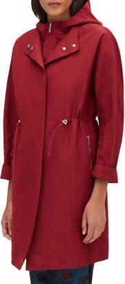 Lafayette 148 New York Maverick Empirical Tech-Cloth Coat w/ Zip-Out Hoodie