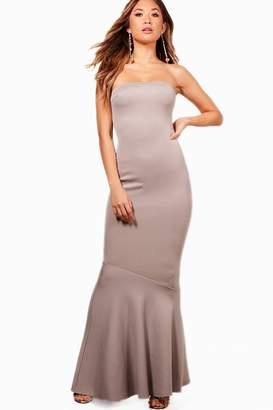 boohoo Bandeau Peplum Hem Maxi Dress