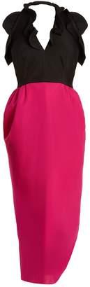 Emilio De La Morena Rouchelle halterneck silk-blend dress