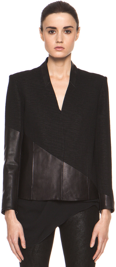 Helmut Lang Warped Suiting Asymmetrical Combo Jacket in Black