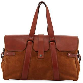 Brunello Cucinelli Men's Leather Flap-Top Duffel Bag