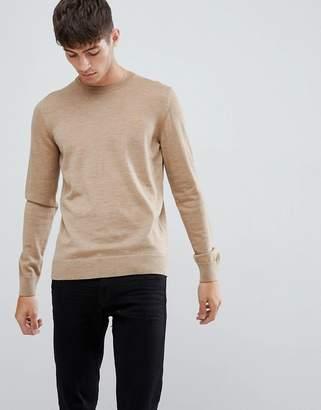 Farah Mullen merino wool sweater in sand