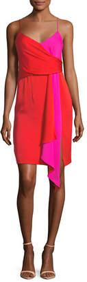 Milly Cindy Two-Tone Stretch-Silk Dress