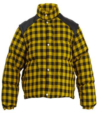 Gucci - Gingham Check Sleeve Detachable Padded Jacket - Mens - Yellow Multi