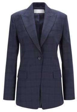 BOSS Hugo Regular-fit jacket in checkered Italian virgin wool 12 Patterned