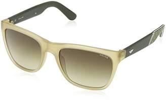 Police Men's S1859 Crypto 3 Wayfarer Sunglasses, SEMI MATT TRANSPARENT BEIGE & DARK GREY FRAME/BROWN GRADIENT LENS