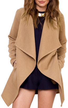 Lapel Belt Pockets Camel Coat