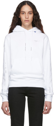 Off-White White and Silver Diag Unfinished Slim Hoodie