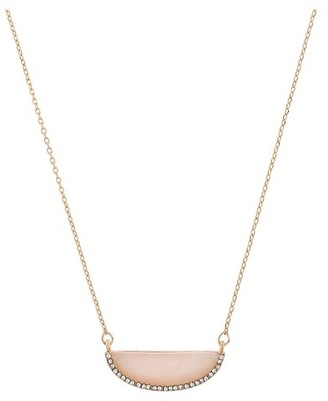 Women's Necklace Short Pendant with Half Moon Stone and Pave Crystal - Pink $10 thestylecure.com