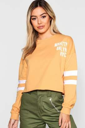 boohoo Petite Slogan Baseball Sweat Top