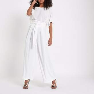 River Island Womens White paperbag waist wide leg pants