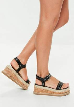 Missguided Black Pin Stud Flatform Sandals