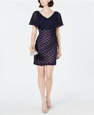 Connected Chiffon-Overlay Glitter Sheath Dress