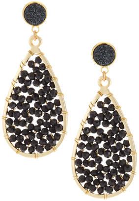 Panacea Disco Teardrop Earrings, Black