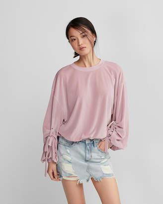Express Balloon Tie-Sleeve Velvet Sweatshirt