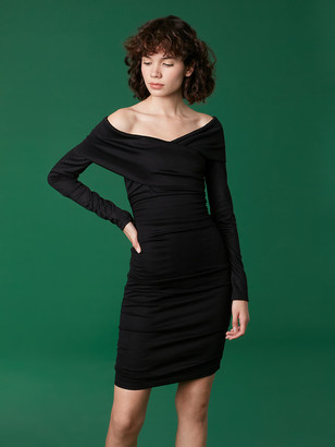 Diane von Furstenberg Off Shoulder Ruched Mini Dress