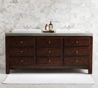 Pottery Barn Mason Double Sink Vanity - Rustic Mahogany Finish