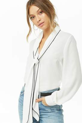 Forever 21 Sheer Tie-Neck Top
